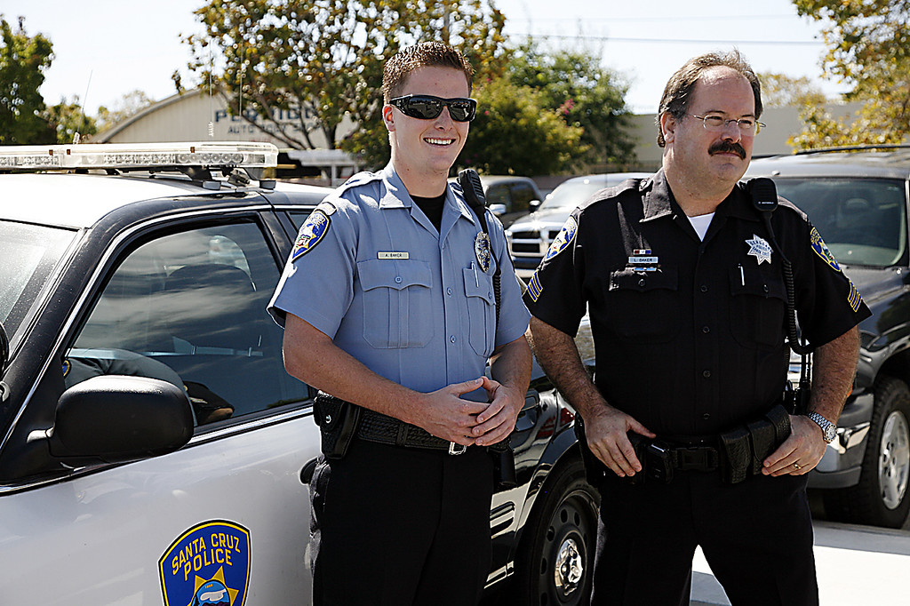Description of . Loran 'Butch' Baker with his son, Adam, when Adam joined the SCPD as a Community Service Officer in September, 2010. <a href=