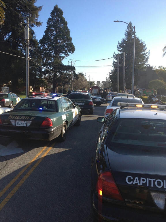 . Police and sheriff vehicles fill the street following a shooting on North Branciforte in Santa Cruz, Calif., on Tuesday, Feb. 26, 2013. (Dan Coyro/Sentinel)