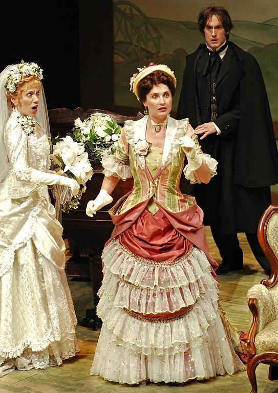 ". Jenni Kirk, Adrienne Dreiss and J. Todd Adams in Shakespeare Santa Cruz\'s 2005 production of \""Engaged.\"" (Photo courtesy of Steve DiBartolomeo, SSC)"