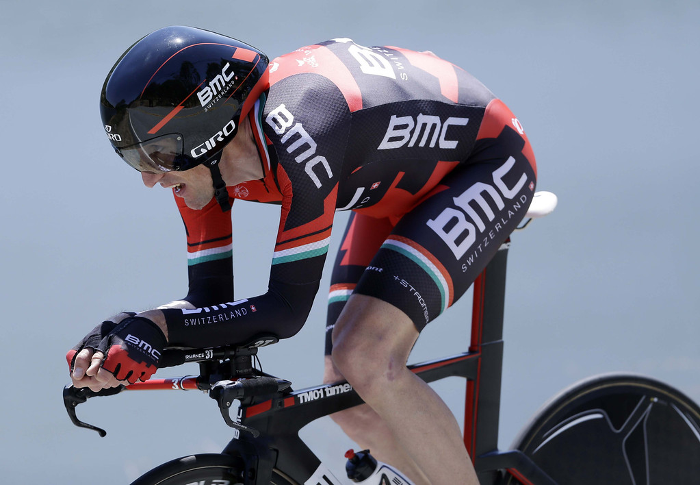 . Marco Pinotti, of Italy, races during the stage 6 individual time trial of the Tour of California cycling race in San Jose, Calif., Friday, May 17, 2013. (AP Photo/Marcio Jose Sanchez)