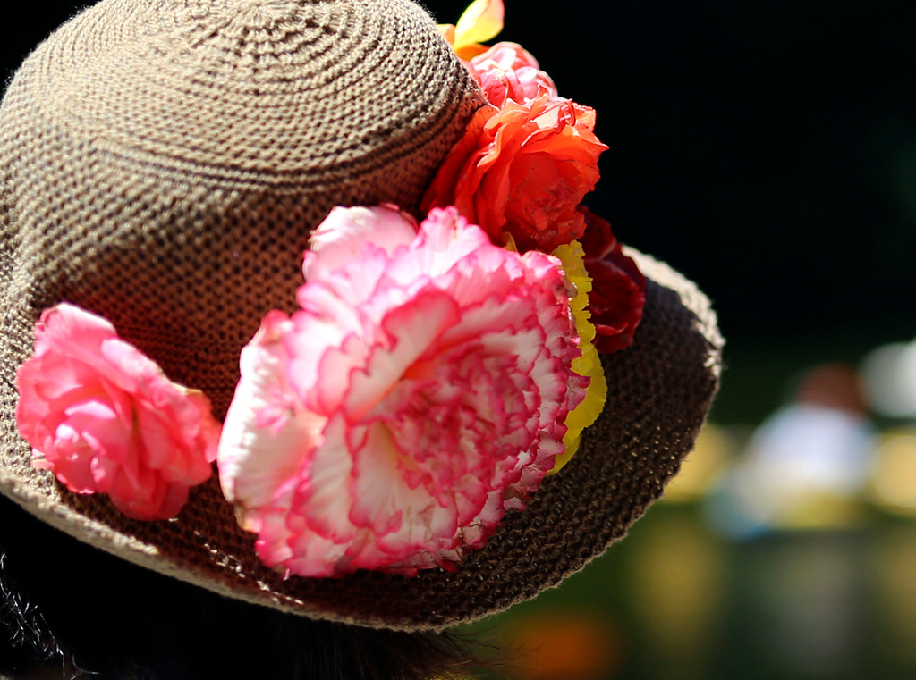 . Begonias decorated hats, bloats and house in Capitola Village on Sunday during the annual Begonia Festival. (Kevin Johnson -- Santa Cruz Sentinel)