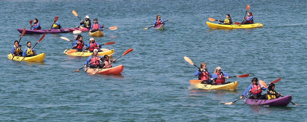 . Kayak flotilla in Elkhorn Slough. Young Women in Science. (Shmuel Thaler/Sentinel)