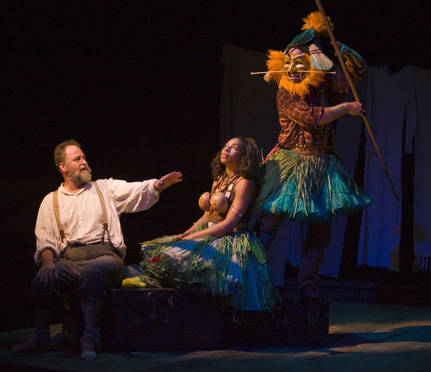 """. Dierk Torsek (Louis), Karen Aldridge (Player 1) and Mike Ryan (Player 2) in Shakespeare Santa Cruz\'s 2009 production of \""""Shipwrecked! An Entertainment - The Amazing Adventures of Louis de Rougemont (As Told By Himself)\"""" by Donald Margulies. (Photo courtesy of R.R. Jones)"""