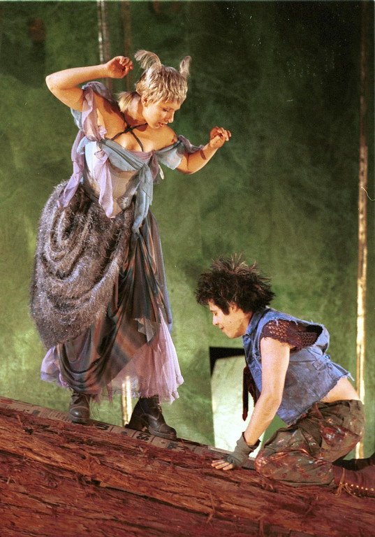 """. Pictured is a scene from Shakespeare Santa Cruz\'s production of \""""A Midsummer Night\'s Dream.\"""" In this scene, Lauren Creager, left, portrays \""""Moth\"""" and \""""Puck,\"""" right, is portrayed by Triney Sandoval. The play will be directed by Tim Ocel. (Sentinel file)"""