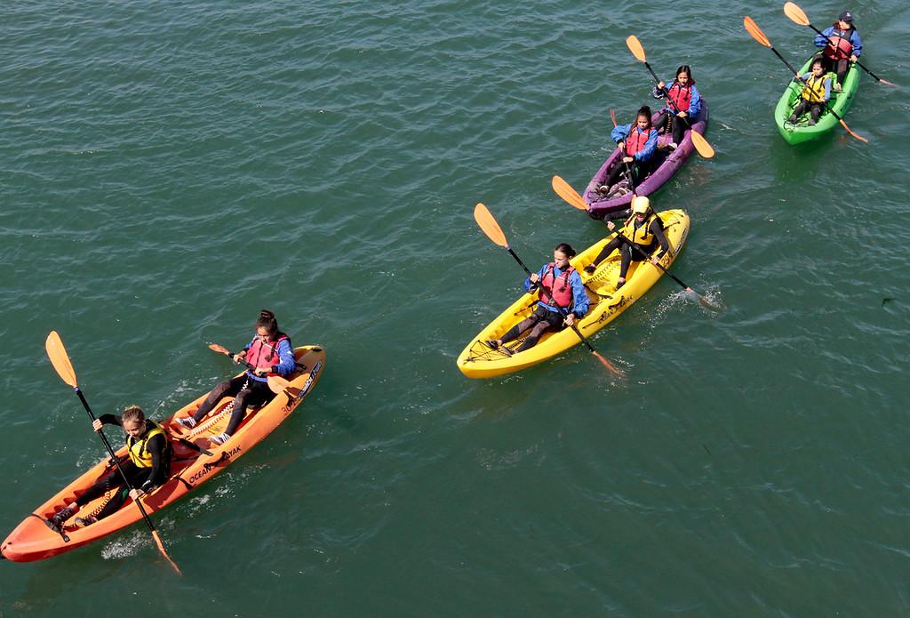 . Young Women in Science kayak in Elkhorn Slough. (Shmuel Thaler/Sentinel)