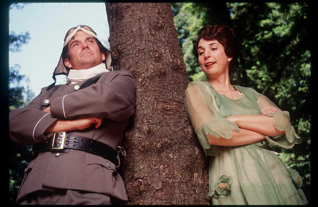 """. James Newcomb and Ursula Meyer in the Shakespeare Santa Cruz production of \""""Much Ado About Nothing.\"""" (Sentinel file)"""