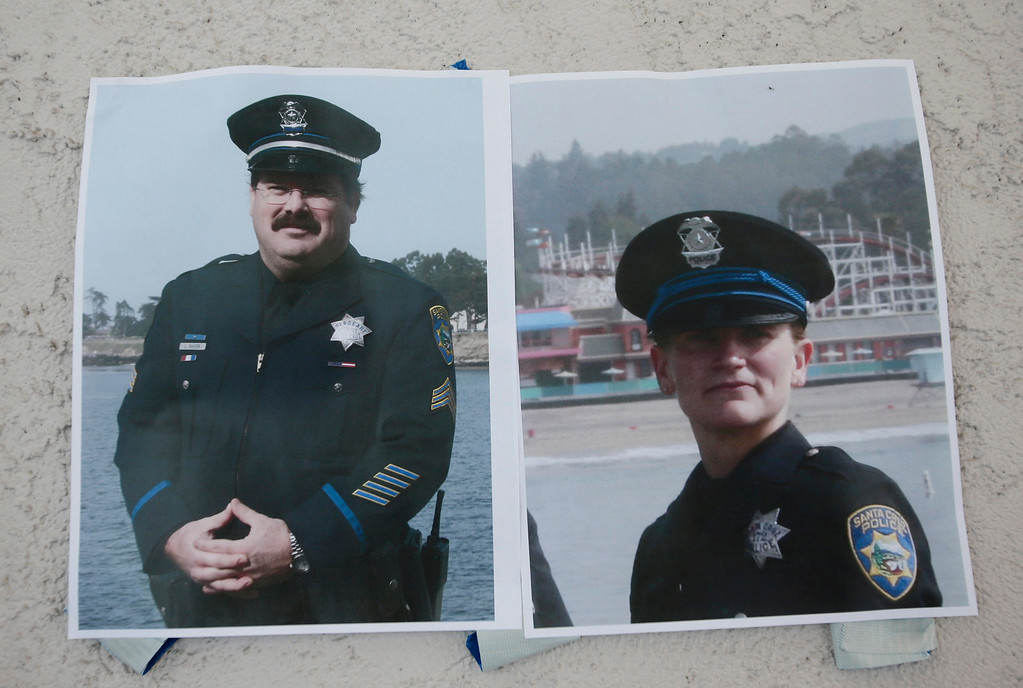 ". Authorities provided these photos of slain Santa Cruz police officers, detective Sgt. Loran ""Butch\"" Baker and detective Elizabeth Butler during a press conference in front of the police department in Santa Cruz, Calif. on Wednesday, Feb. 27, 2013. The pair were gunned down yesterday while investigating a possible domestic violence or sexual assault when a suspect fired at them. The gunman, Jeremy Peter Goulet, was later gunned down when he exchanged gunfire with police during a manhunt. (Gary Reyes/ Staff)"