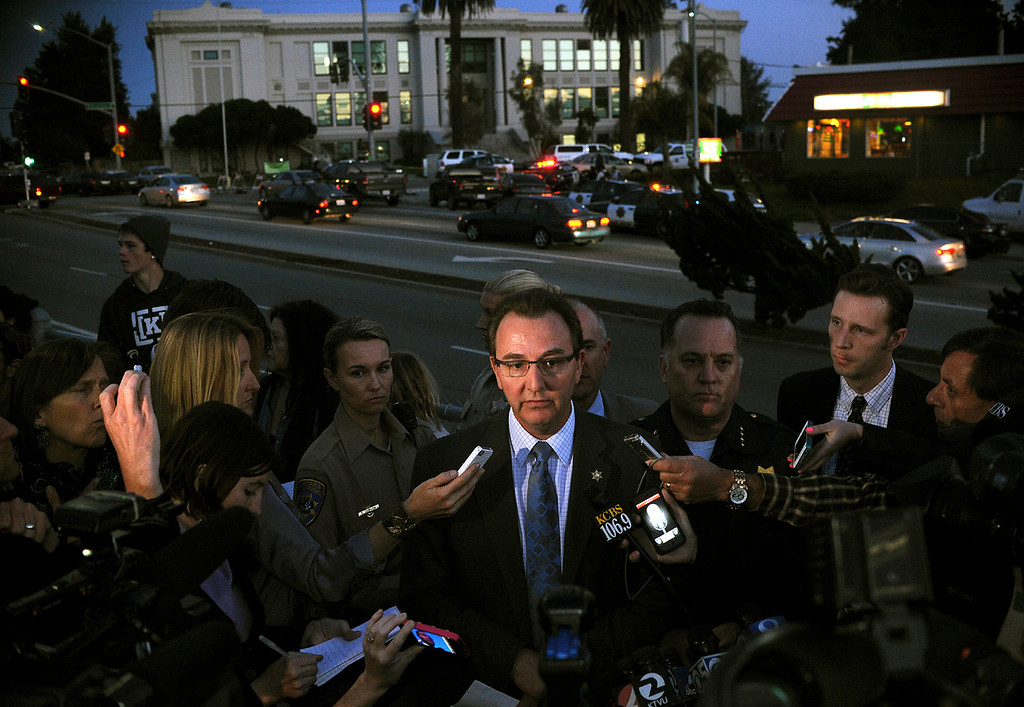 ". Santa Cruz Sheriff Phil Wowak confirms during a press conference that <a href=""http://www.santacruzsentinel.com/localnews/ci_22674808/breaking-2-officers-1-suspect-shot-santa-cruz\"">two officers were killed Tuesday afternoon</a> in a shootout that took place near the corner of North Branciforte Avenue and Doyle Street (Matthew Hintz/Sentinel)."
