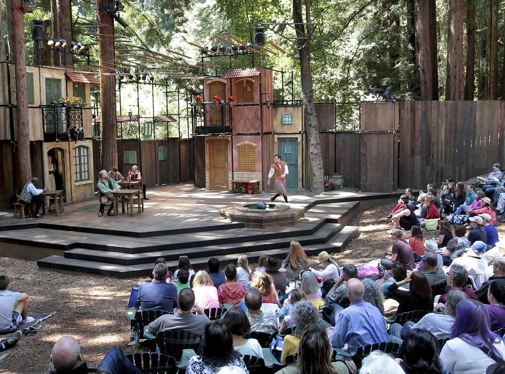 ". Actors perform in the Shakespeare Santa Cruz staging of \""The Taming of the Shrew\"" in the festival\'s trademark Stanley-Sinsheimer Festival Glen at UC Santa Cruz. (Shmuel Thaler/Sentinel file)"