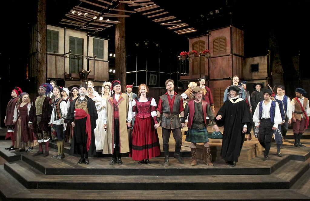 """. The cast of \""""The Taming of the Shrew\"""" takes a bow from the stage of the Shakespeare Santa Cruz Sinsheimer-Stanley Festival Glen during the production\'s dress rehearsal. (Shmuel Thaler/Sentinel file)"""