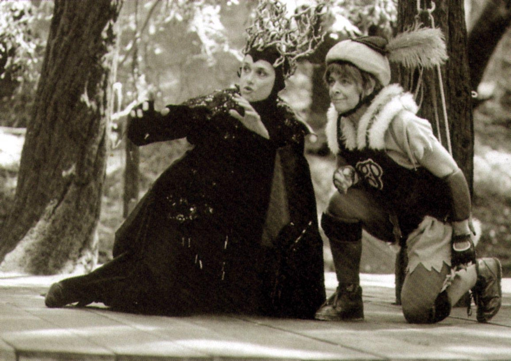 """. Audrey Stanley, right, played Puck in a memorable 1991 performance of \""""A Midsummer Night\'s Dream.\""""  The acrobatic role required the founder of Shakespeare Santa Cruz to fly on wires. (Sentinel file)"""