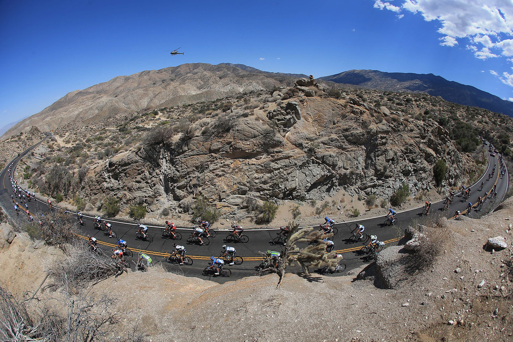 . The peloton makes the descent from Mountain Center toward Palm Desert during Stage Two of the 2013 Amgen Tour of California from Murrieta to Palm Springs on May 13, 2013 in Mountain Center, California.  (Photo by Doug Pensinger/Getty Images)