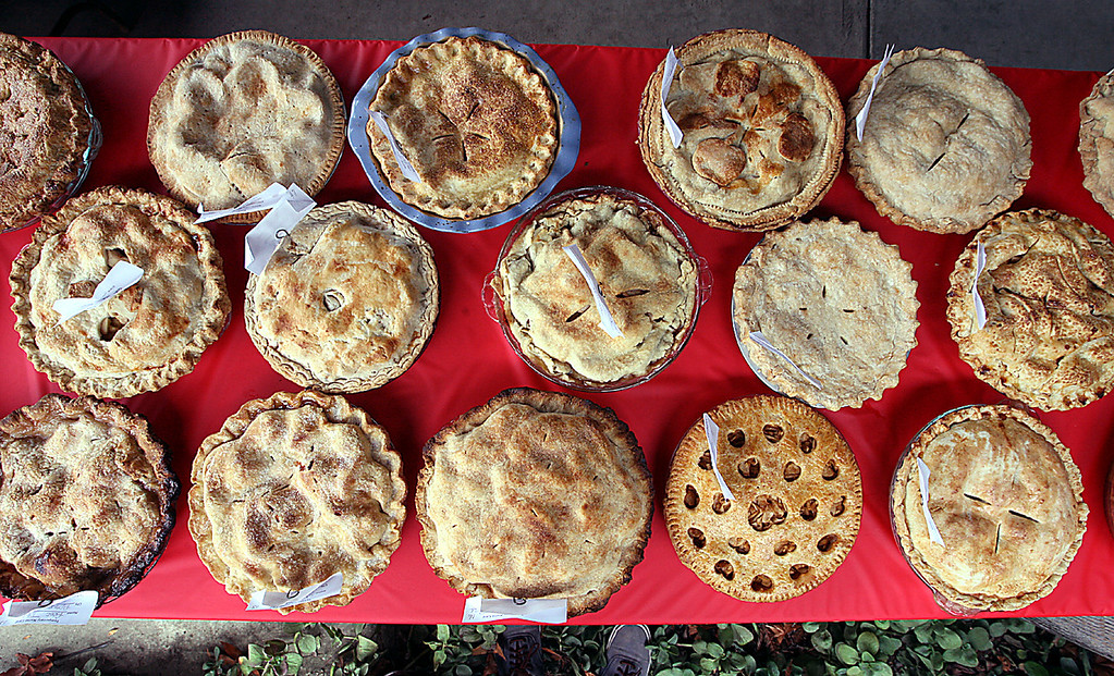 . Apple pies await judging at the Santa Cruz County Fair Tuesday.  (Dan Coyro/Sentinel)