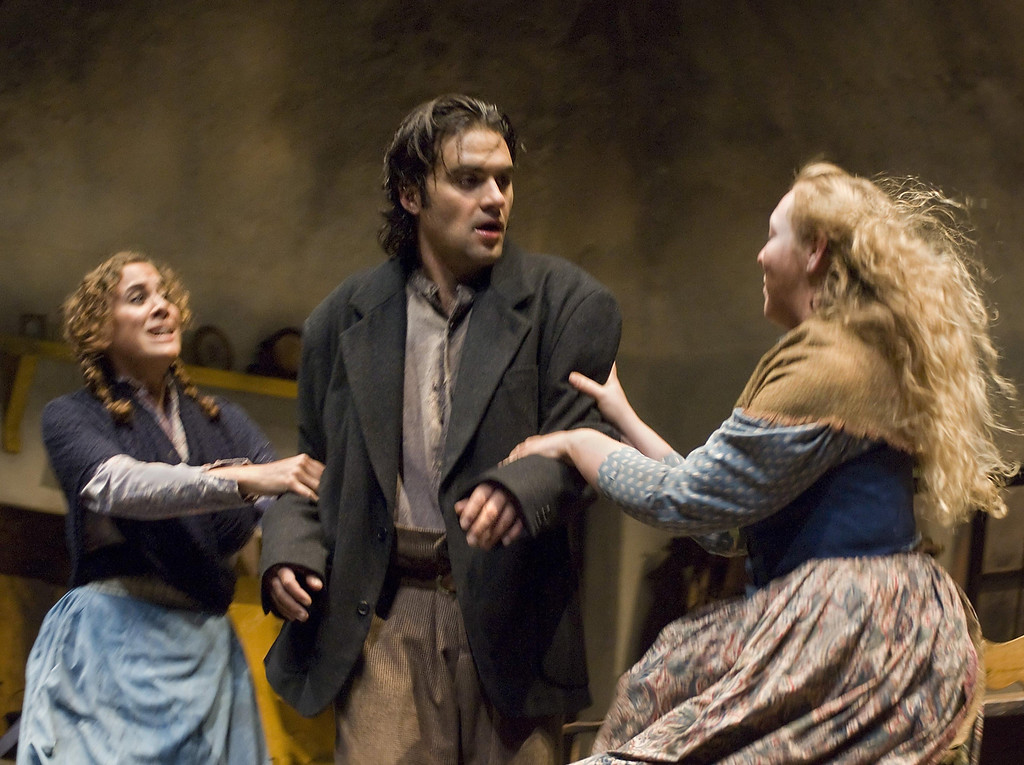 """. Elise Youssef as Sara Tansley, Cody Nickell as Christy Mahon and Ferin Petrelli as Susan Brady in Shakespeare Santa Cruz\'s 2007 production of \""""The Playboy of the Western World.\"""" (Sentinel file)"""