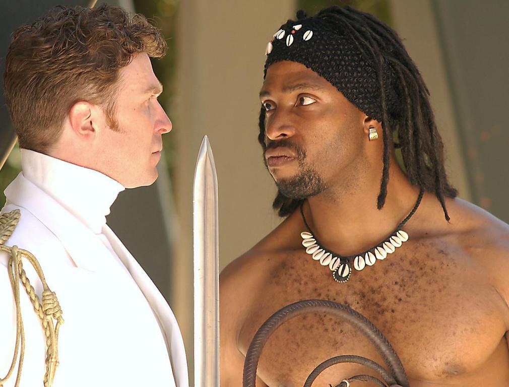 ". \""Coriolanus\"" at Shakespeare Santa Cruz. John Preston (left) as Coriolanus and Aldo Billingslea as Aufidius. (Sentinel file)"