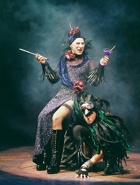 ". Carmen Monoxide (Joseph Ribiero) and Russell Crow in the Shakespeare Santa Cruz production of \""Gretel and Hansel.\"" (R.R. Jones/Contributed)"