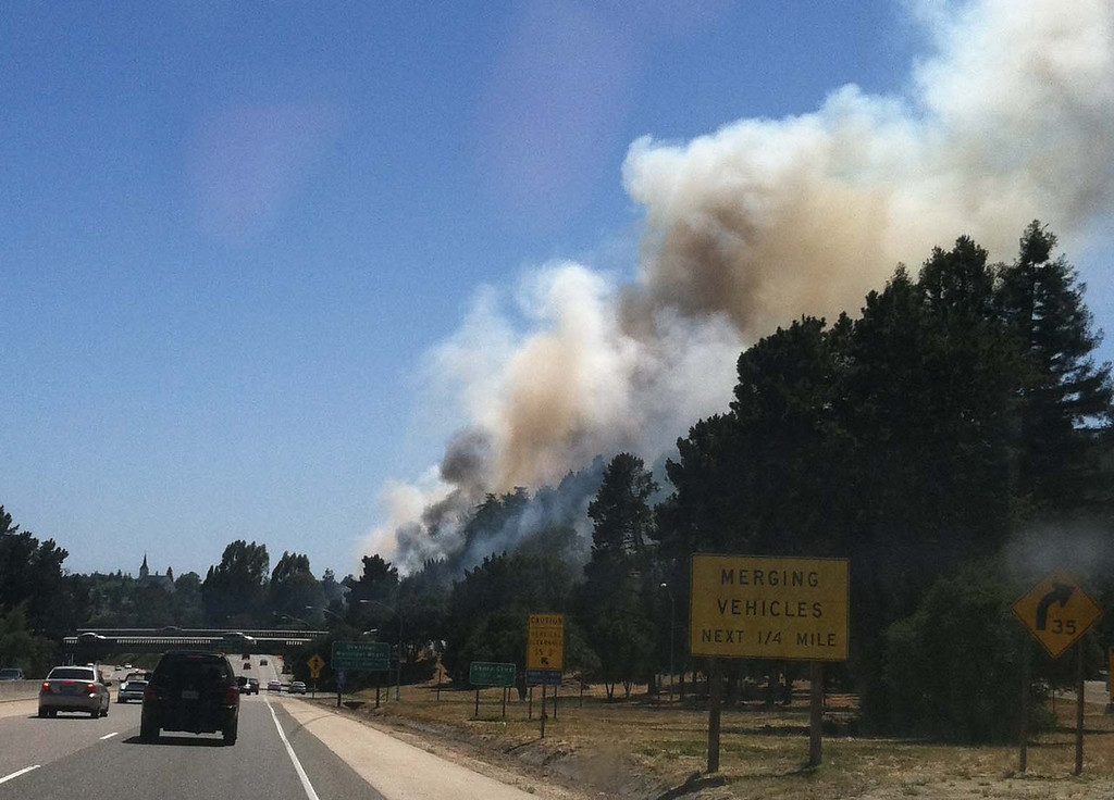 . A view of the wildland fire from southbound Highway 1 near the Fishook about 3:10 p.m. Thursday. (Jeff Hutson/Contributed)