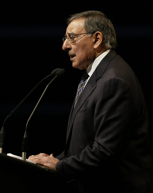 . Former Defense Secretary Leon Panetta speaks at a memorial service for slain Santa Cruz police Sgt. Loran Baker and detective Elizabeth Butler Thursday, March 7, 2013, at HP Pavilion  in San Jose, Calif. Baker and Butler were shot to death on Feb. 27, after arriving at the home of Jeremy Peter Goulet to question him about a misdemeanor sexual assault. (AP Photo/Ben Margot)