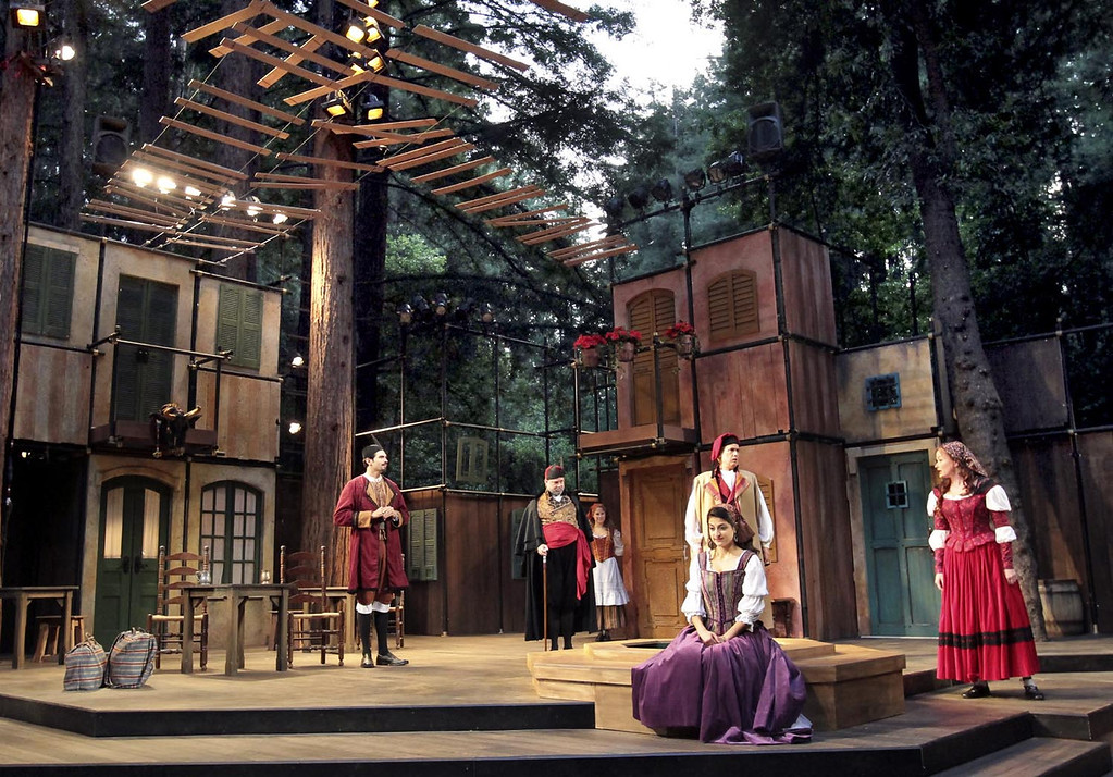 """. The cast of \""""The Taming of the Shrew\"""" shines during dress rehearsal on the Shakespeare Santa Cruz stage. SSC will also be staging \""""Henry V\"""" and \""""Tom thumb\"""" this season. (Shmuel Thaler/Sentinel file)"""
