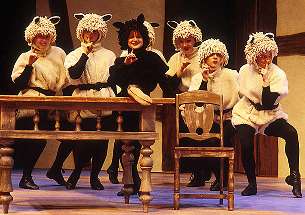 """. The sheep in Shakespeare Santa Cruz\'s production of \""""Cinderella\"""" in 2000, in costumes by B. Modern. (Photo courtesy of SSC)"""