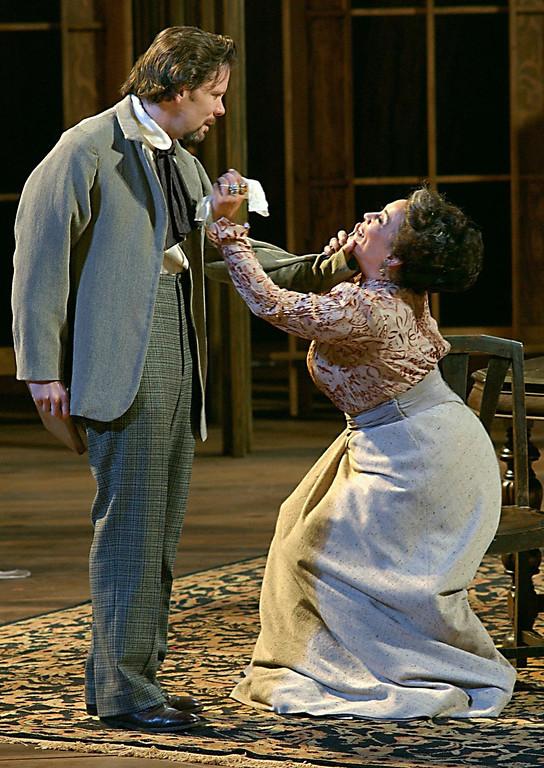 ". Thomas Jay Ryan (Trigorin) and Alma Martinez (Arkadina) in Shakespeare Santa Cruz\'s production of Chekhov\'s \""The Seagull.\"" (Sentinel file)"