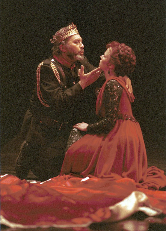 """. Scene from Shakespeare Santa Cruz production of \""""Macbeth.\"""" Pictured are Paul Whitworth, as \""""Macbeth,\"""" and \""""Lady Macbeth,\"""" as portrayed by Mhari Sandoval. The play was directed by Michael D. Edwards. (Sentinel file)"""