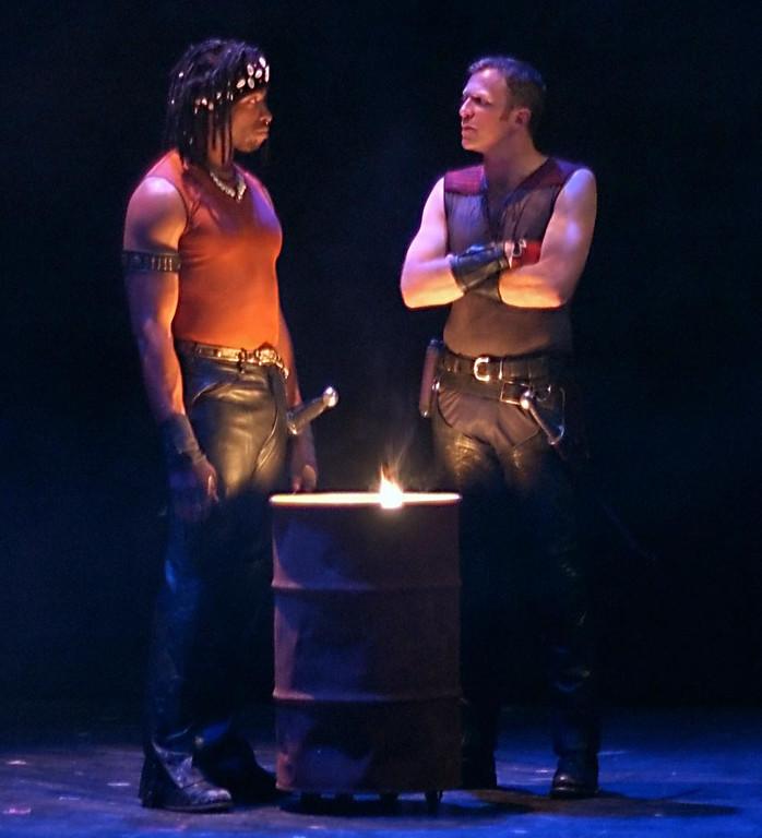 ". Aldo Billingslea (Aufidius) and John G. Preston (Coriolanus) in Shakespeare Santa Cruz\'s production of \""Coriolanus.\"" (Sentinel file)"