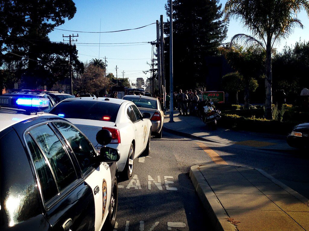 . A chaotic scene following shootings at North Branciforte Avenue and Doyle Street in Santa Cruz, Calif., on Tuesday, Feb. 26, 2013. (Jessica M. Pasko/Sentinel)