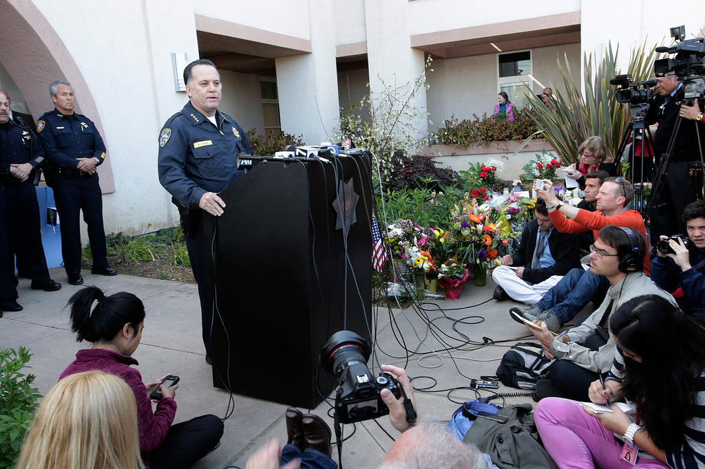 ". Santa Cruz Police Chief, Kevin Vogel, addresses the media at a press conference for slain Santa Cruz police officers, detective Sgt. Loran ""Butch\"" Baker and detective Elizabeth Butler in front of the police department in Santa Cruz, Calif. on Wednesday, Feb. 27, 2013. The pair were gunned down yesterday while investigating a possible domestic violence or sexual assault when a suspect fired at them. The gunman, Jeremy Peter Goulet, was later gunned down when he exchanged gunfire with police during a manhunt. (Gary Reyes/ Staff)"