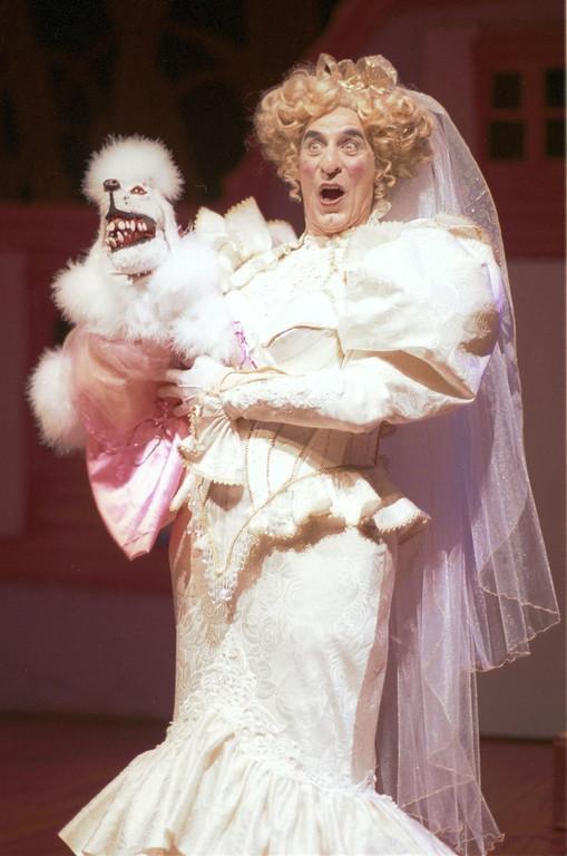 ". Joseph Ribeiro, (Ivana B. Sweet) with her half pitbull, half poodle, Pitty Poo. \""Gretel and Hansel\"" at Shakespeare Santa Cruz. (Steve DiBartolomeo/Contributed)"