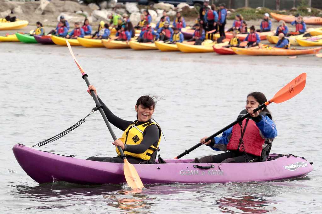 . Heading out.  Young Women in Science Kayak in Elkhorn Slough (Shmuel Thaler/Sentinel)