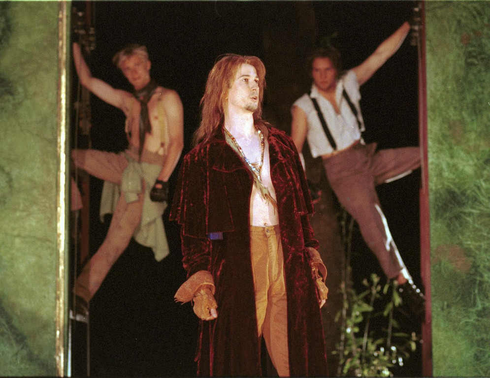 """. Pictured is a scene from Shakespeare Santa Cruz\'s production of \""""A Midsummer Night\'s Dream.\"""" In the foreground, Bruce Turk portrays \""""Oberon.\"""" The play was directed by Tim Ocel. (Sentinel file)"""