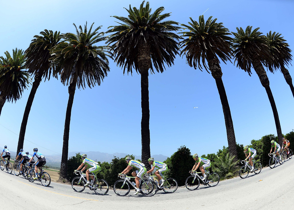 . Team Vacansoleil-DCM ride in the middle of the peleton during Stage 4 of the Tour of California on May 15, 2013 in Fillmore, California.  (Photo by Harry How/Getty Images)