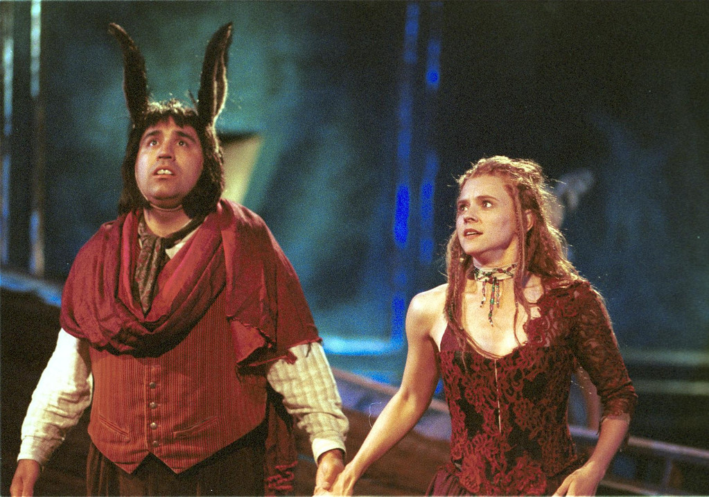 """. Pictured is a scene from Shakespeare Santa Cruz\'s production of \""""A Midsummer Night\'s Dream.\"""" In this scene, Tony A. Gomez, left, portrays \""""Bottom\"""" and Mhari Sandoval, right, portrays \""""Titania.\""""  The play will be directed by Tim Ocel. (Sentinel file)"""